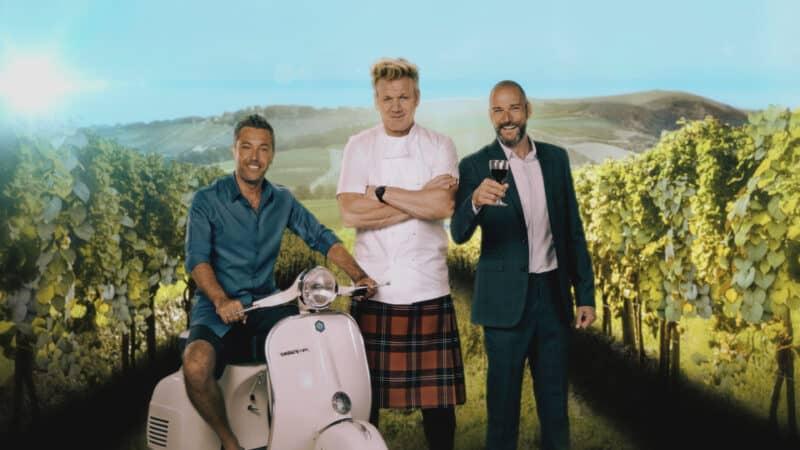 Chefs Gordon Ramsay, Gino D'Acampo, and Fred Sirieix