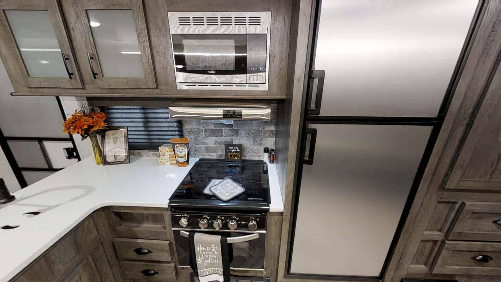 Interior view of RV kitchen in EVO T2700