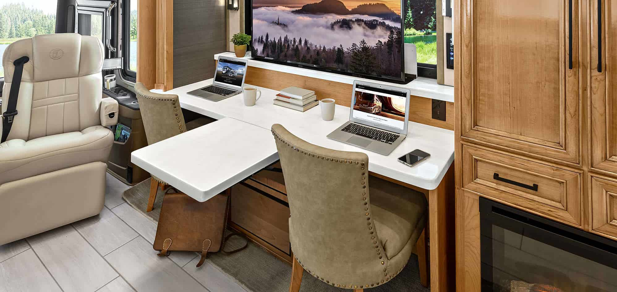 Today's RVers expect multiple flat screen TVs and space for a mobile office - Photo: Tiffin Motorhomes