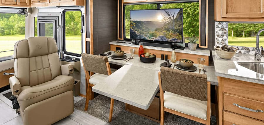 The Tiffin's dinette size and proximity to the TV make it ideal for an RV office space.