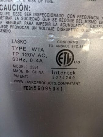 Photo of the power usage label on the back of a fan.