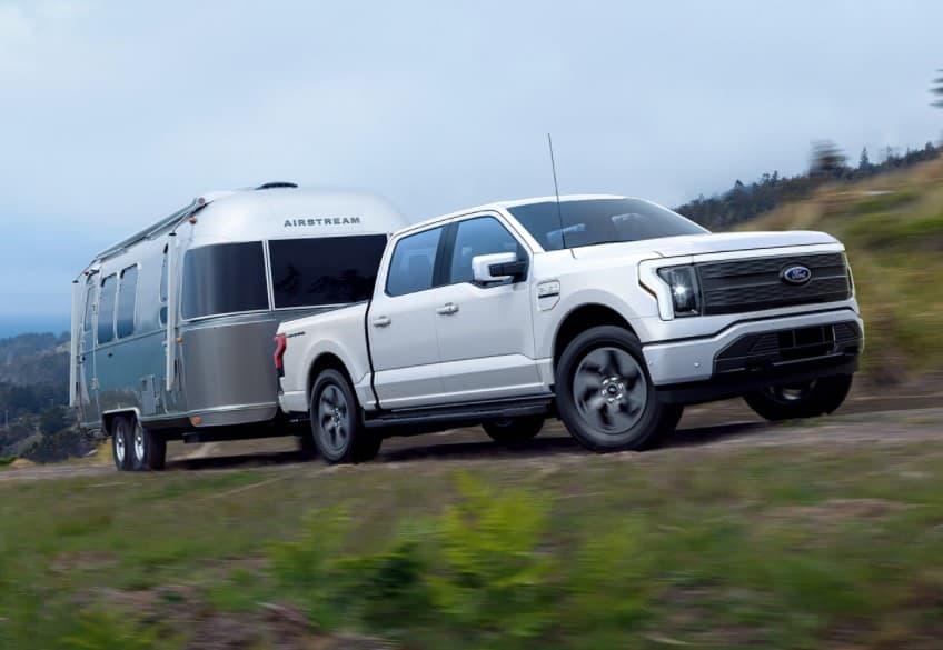 2022 Ford F-150 Lightning hauling an Airstream
