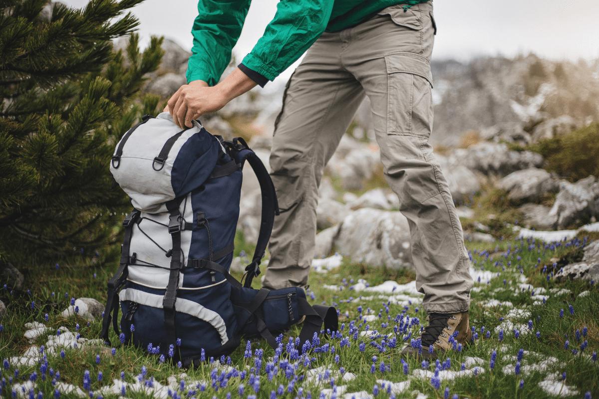 Hiker with a hiking go bag