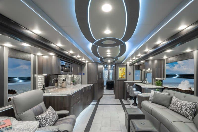 Colored LED lighting can set the mood for your RV interior