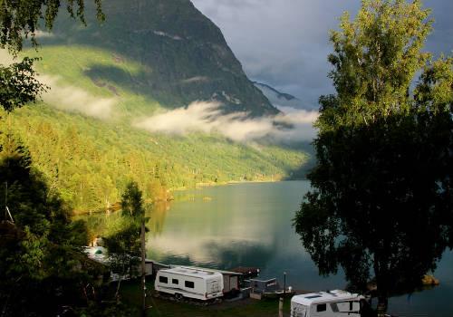 Camp near beautiful lake