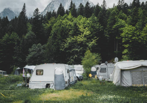 Camper trailers near trees with snow-capped mountain at distance