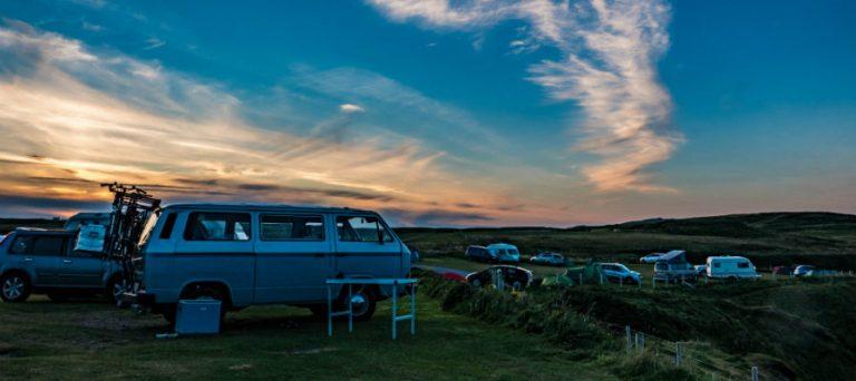 Camper Van at Sunset