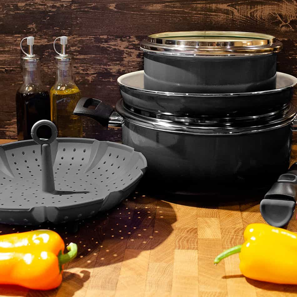 Set of camping pots and pans