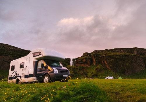 Mobile home in a scenic icelandic campsite