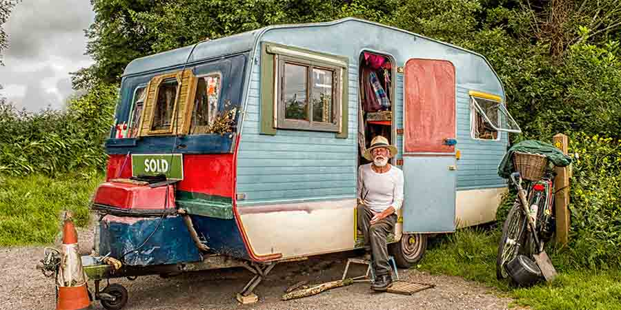 Man in an old RV