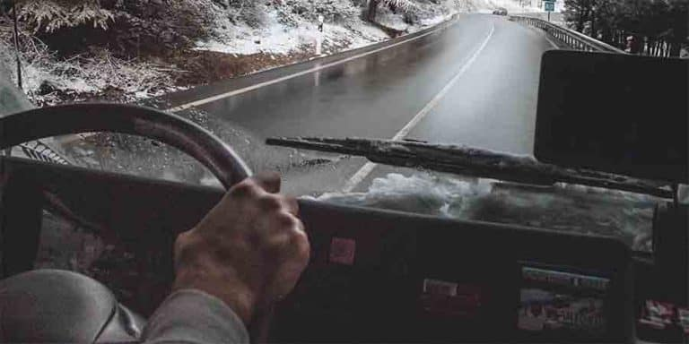 RV on an icy road