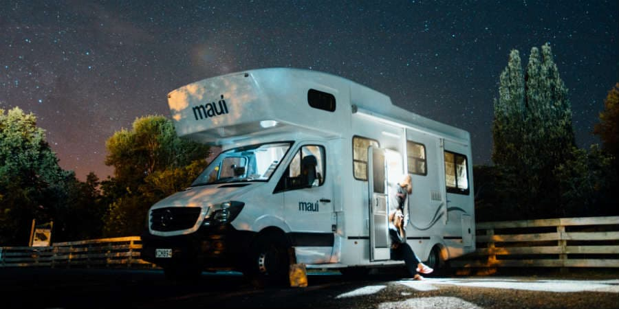 RV operating on solar power at night