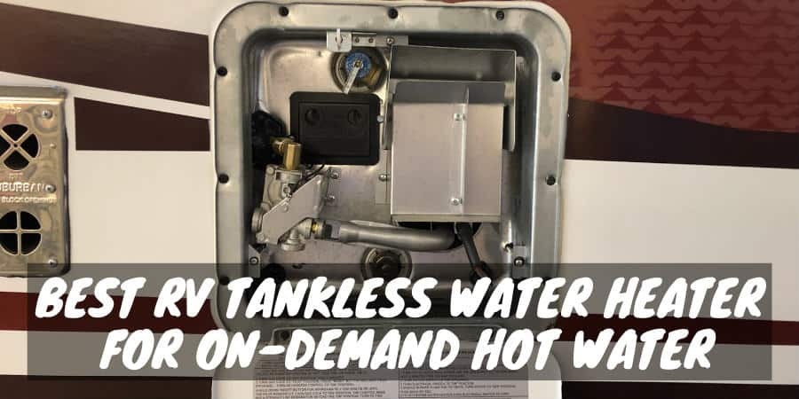 The outside panel of an RV tankless water heater