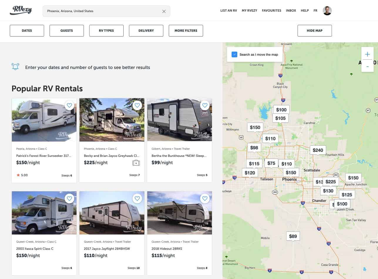 Rent an RV with RVezy