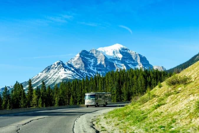 Class A motorhome RVing in Canada