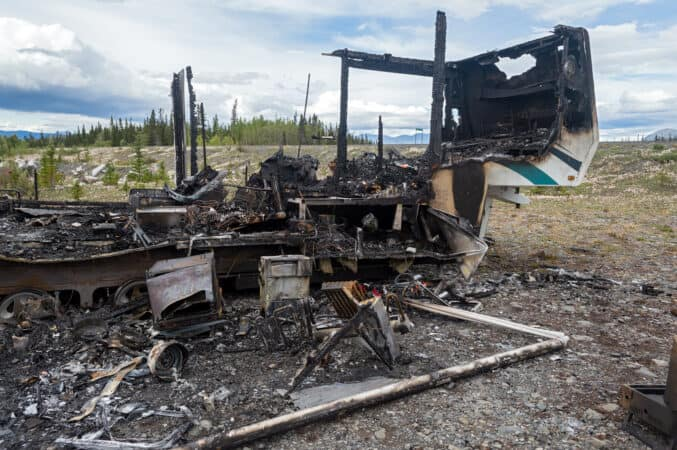 Burned down fifth wheel RV