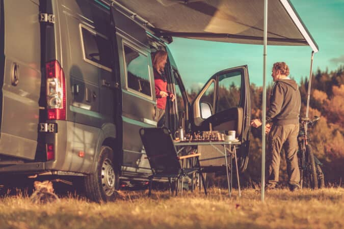 Camper Van RV Boondocking in Remote Place During Scenic Fall Foliage