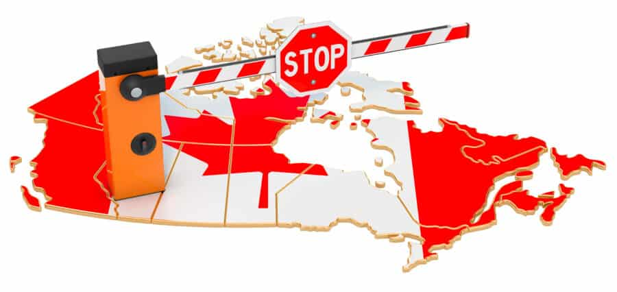 Graphic of the Canadian Borders with stop gate
