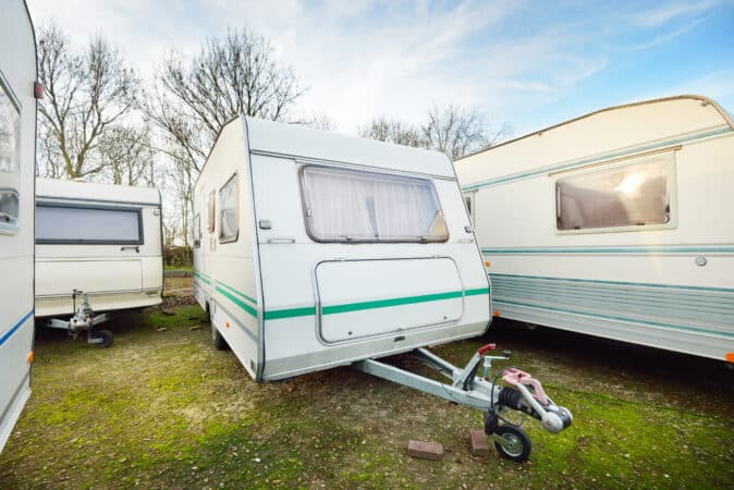 RV trailers for sale in grass lot