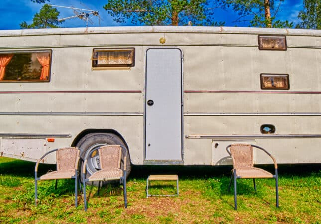 Exterior of older RV in need of an RV remodel