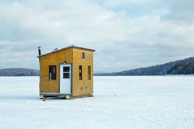 Here's what most people imagine when they think of a fish house on the ice.