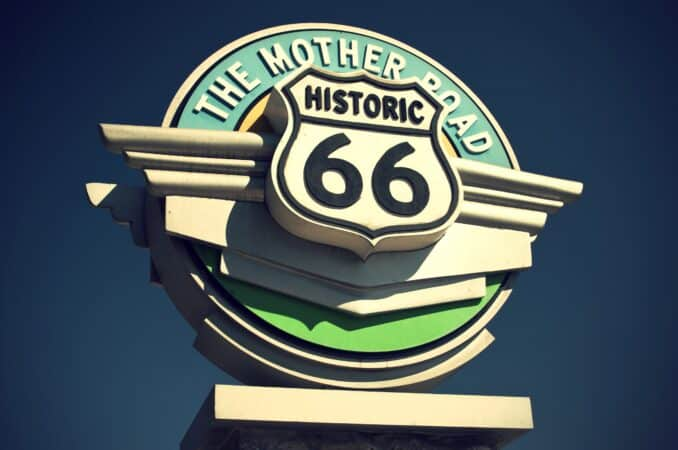 Road sign depicts Historic route 66 - the mother road