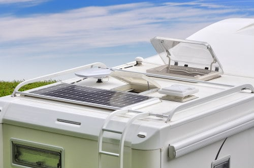 Solar panel on the campers roof