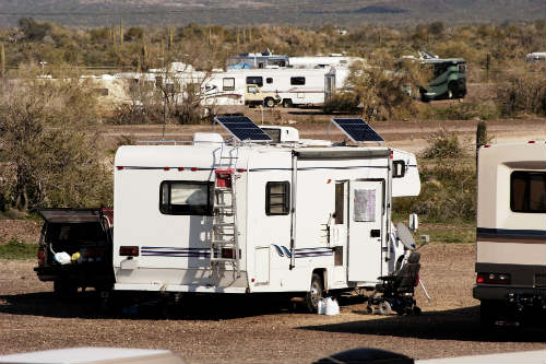 Solar panels on the camper's roof