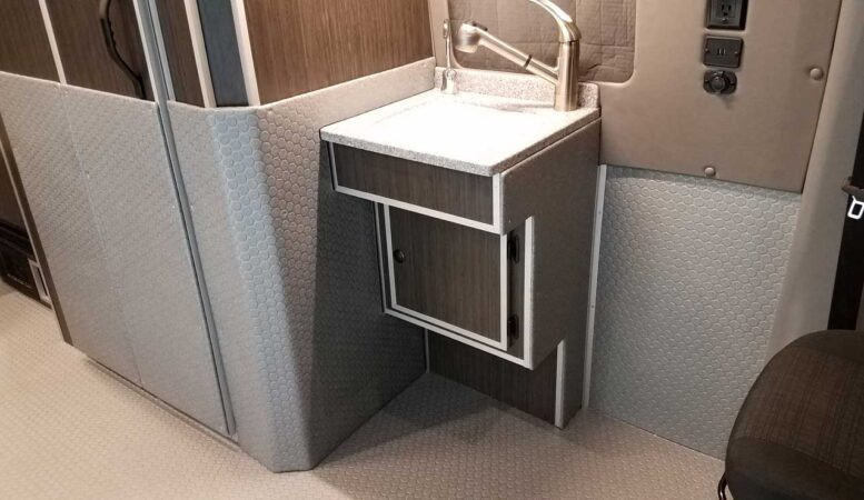 Plenty of rolling room and accessible sinks in the Sportsmobile RV