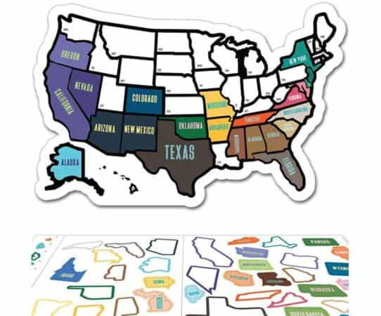 Map of United States using colored stickers