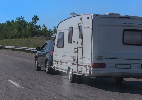 SUV with a camping trailer is moving