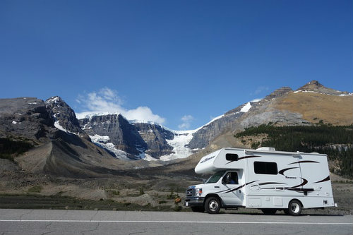 White camper in the mountains