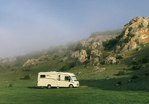 White RV at the hill