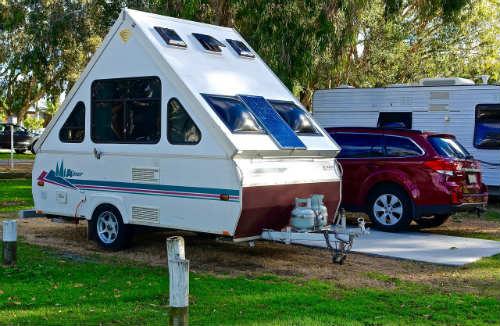 White teardrop camper